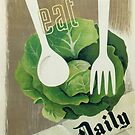 Eat Your Greens Health Vintage Poster by mindydidit