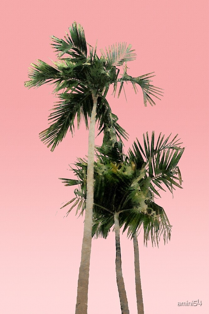 Quot Palm Trees On Pink Wall Quot By Amini54 Redbubble