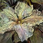 Redreaming Deep Dreamed White Flower  by WENDY BANDURSKI-MILLER