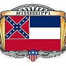 Mississippi Art Deco Design with Flag by Cleave
