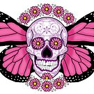 Pink Winged Sugar Skull by Lisa Vollrath