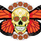 Orange Winged Sugar Skull by Lisa Vollrath