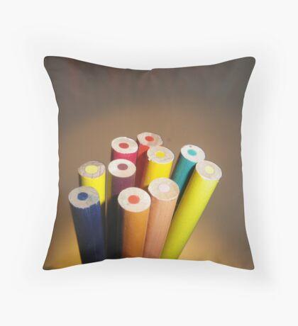 Rainbow Pencils Throw Pillow