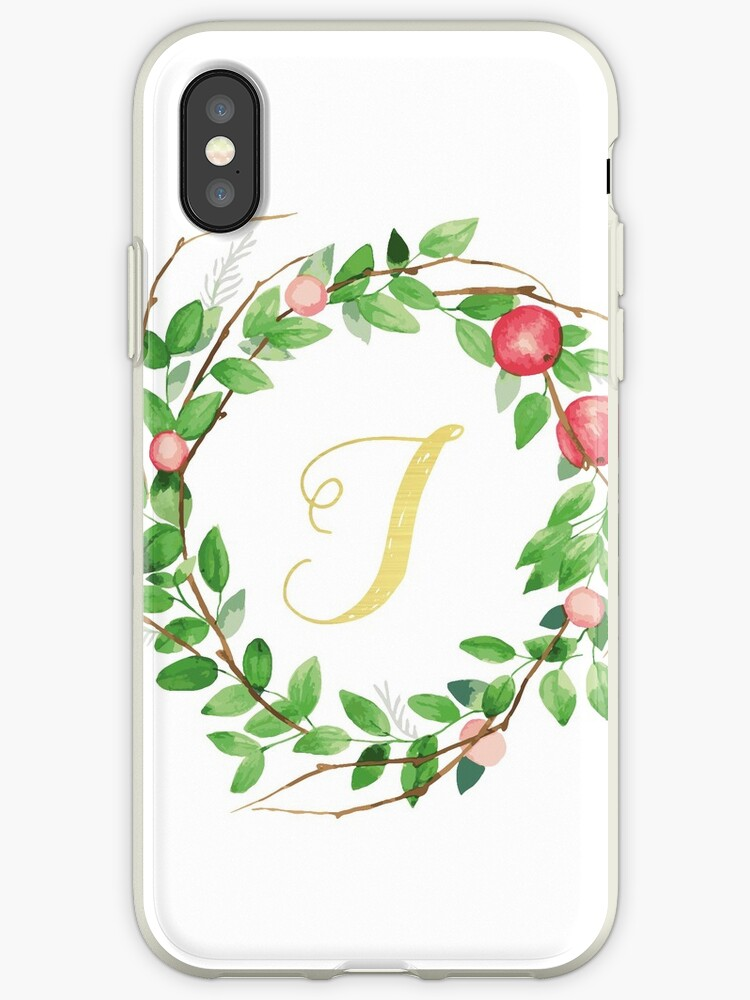 Apple Wreath Gold Initial J by atfoxplace