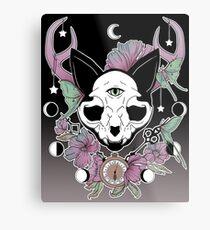 Twilight -- Skull Cat Metal Print