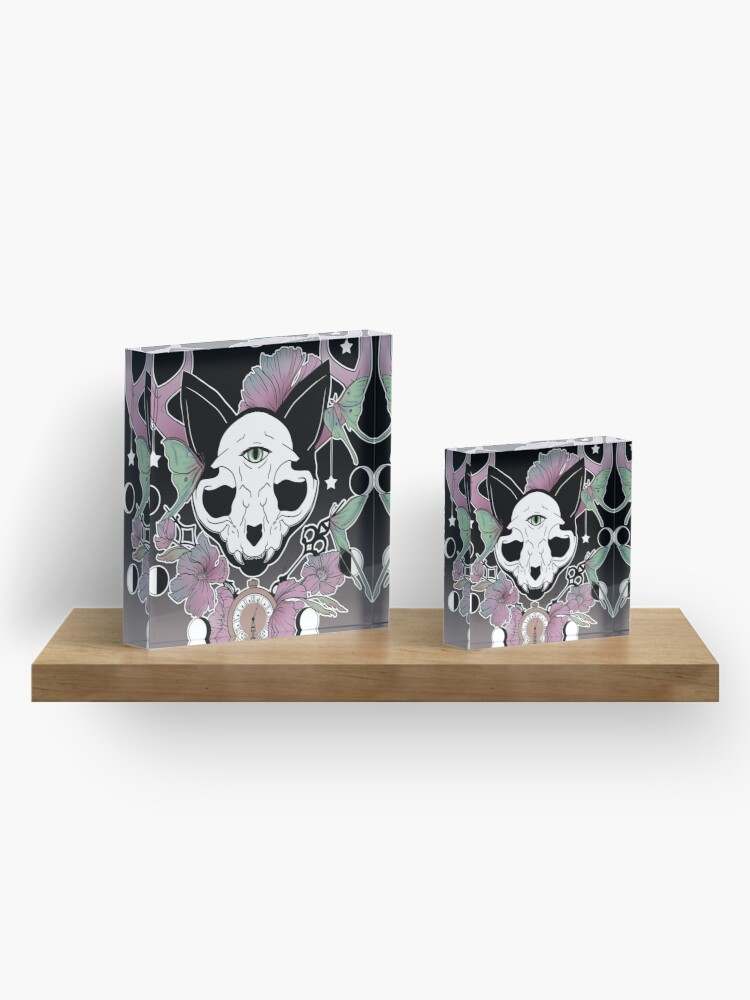 Alternate view of Twilight -- Skull Cat Acrylic Block