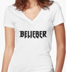 Belieber Icon Women's Fitted V-Neck T-Shirt