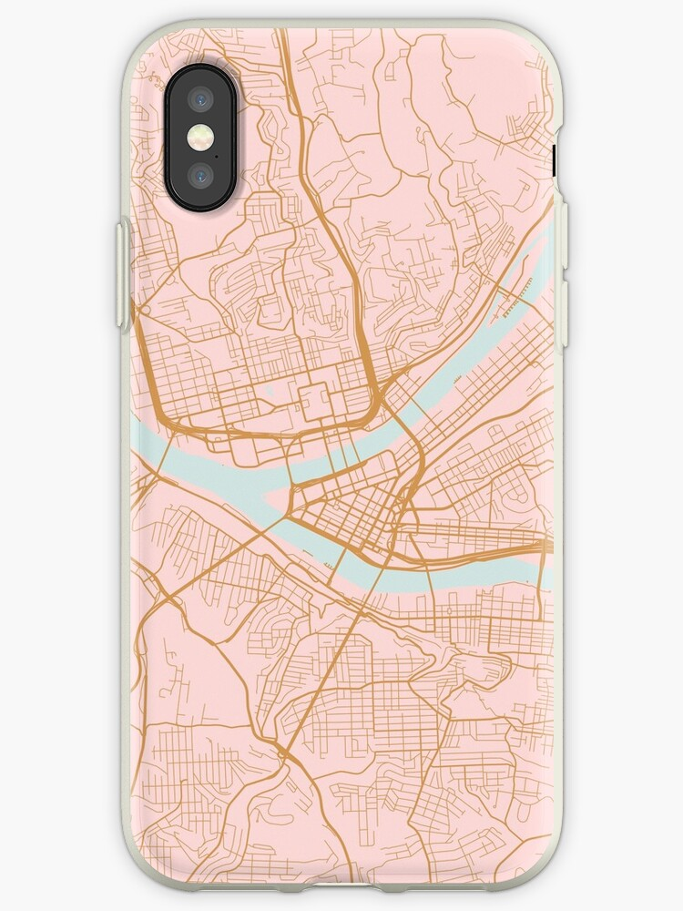 Pink and gold Pittsburgh map by AnnaGo