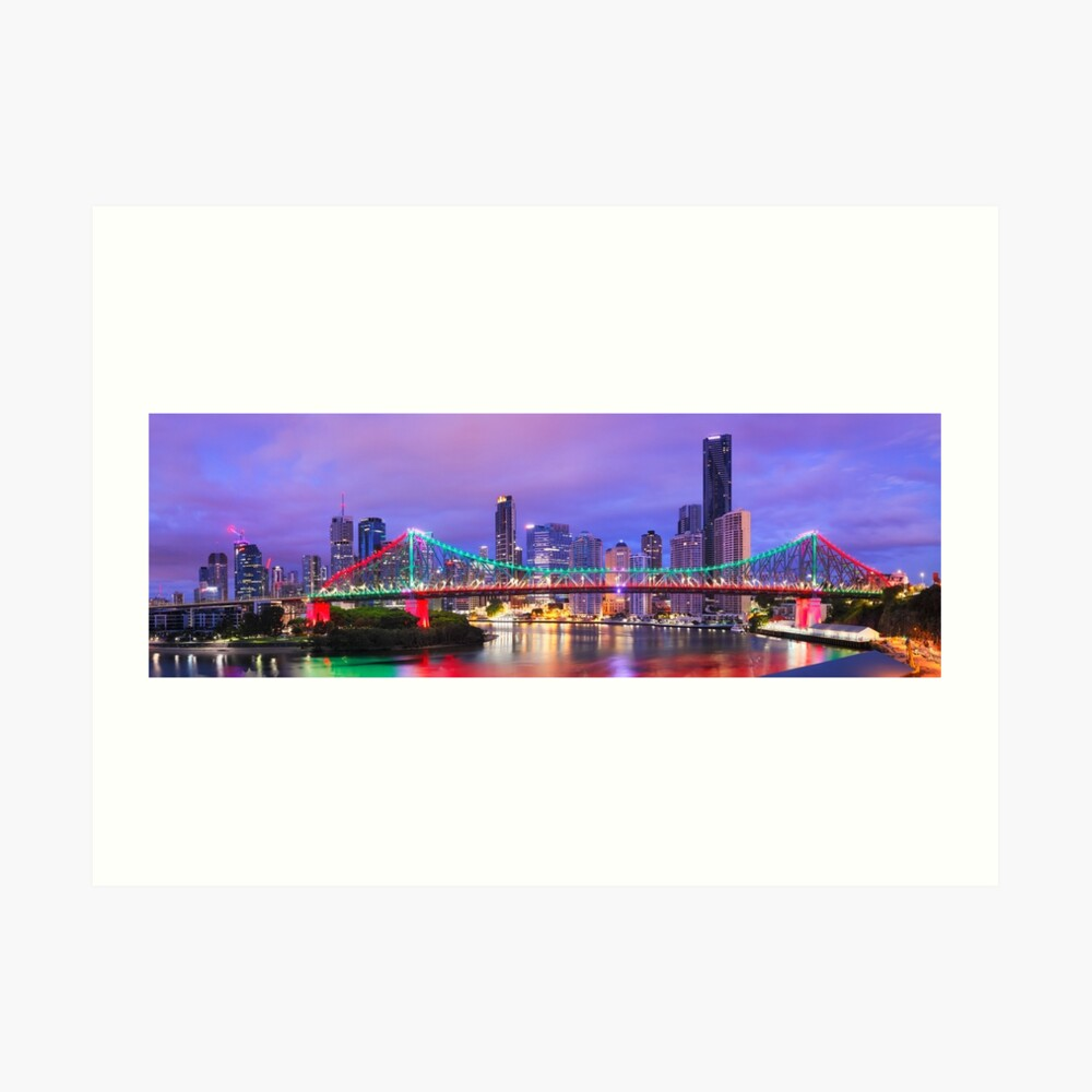 Colourful Story Bridge, Brisbane, Queensland, Australia Art Print