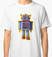 Blue Toy Robot, Retro Style Graphic Classic T-Shirt