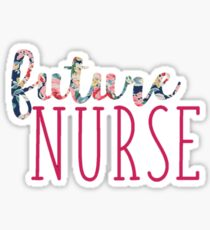 Navy Floral with Pink Future Nurse  Sticker