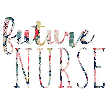 Azul marino Floral futura enfermera de annmariestowe