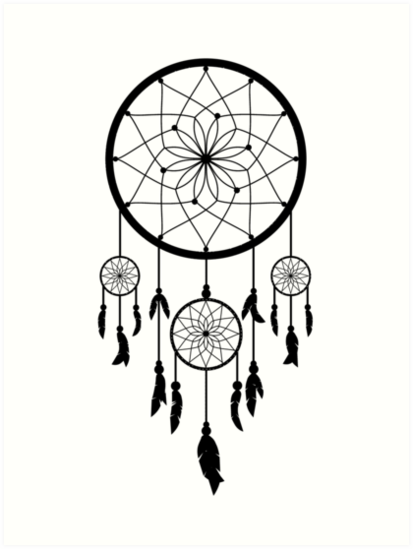 Black dream catcher native american indian art by podartist