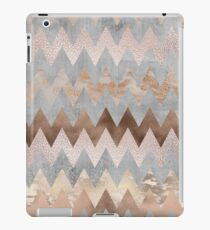 Copper and Blush Rose Gold Marble Chevron Pattern iPad Case/Skin