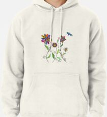 flowers and bees on white Pullover Hoodie