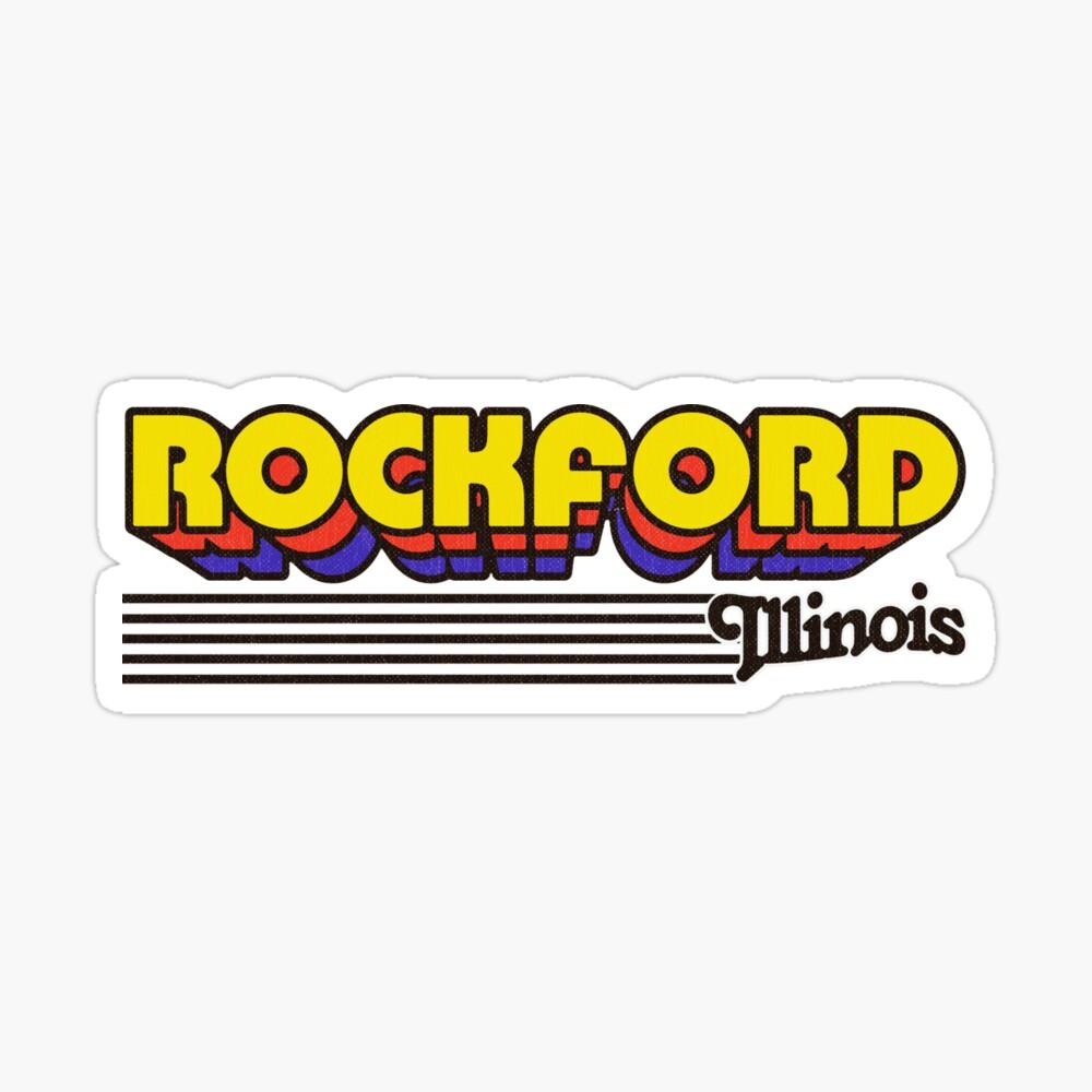 Rockford, Illinois | Retro Stripes Sticker