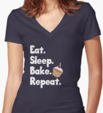 Eat Sleep Bake Repeat - Cute Cupcake Women's Fitted V-Neck T-Shirt