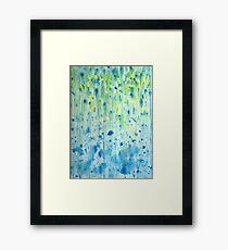 Yellow and blue rain Framed Print