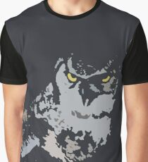 Bold Stylized Eagle Owl Graphic Print Graphic T-Shirt
