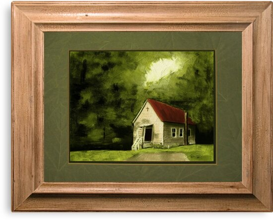 """""""Country Church, version 1"""" ... with a rice paper impression, in a matted and framed presentation, for prints and products by Bob Hall©"""