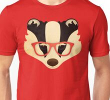 Hipster Badger: Red Unisex T-Shirt