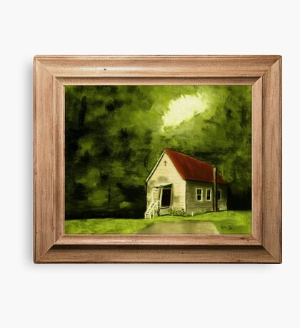 """Country Church, version 1"" ... with a canvas and framed presentation, for prints and products Canvas Print"