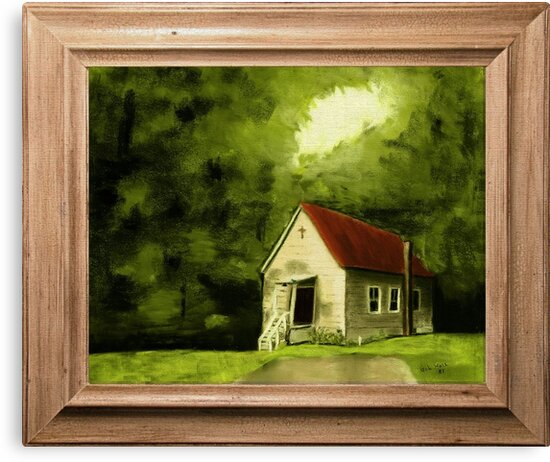 """Country Church, version 1"" ... with a canvas and framed presentation, for prints and products by Bob Hall©"