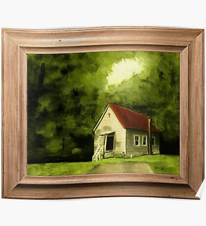 """""""Country Church, version 1"""" ... with a canvas and framed presentation, for prints and products Poster"""