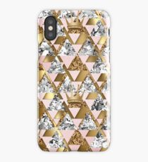 Gold and silver geometric design with crowns  iPhone Case/Skin