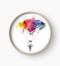 Skydiving, Skydiver parachute, parachuting. Watercolor Illustration Clock