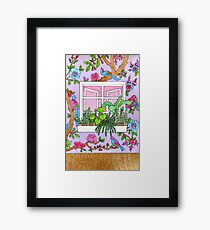 Window scene with floral wallpaper Framed Print