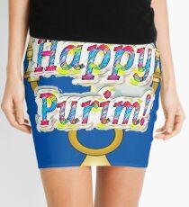 Happy Purim! Esther, King Ahasuerus, Vizier Haman, Torah, Mordecai, drinking feast Mini Skirt