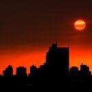 Smoke sunset over Melbourne. by Victor Pugatschew