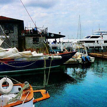 Docked Boats In Newport RI by SudaP0408