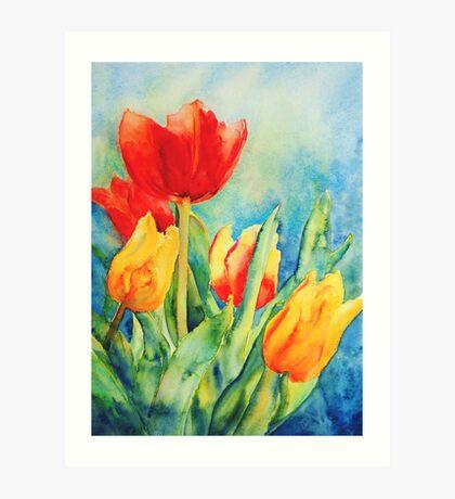 Primary Tulips Art Print
