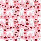 Toy poodle white poodles valentines day cupcakes love hearts dog breed pet portrait pattern gifts pet friendly by PetFriendly