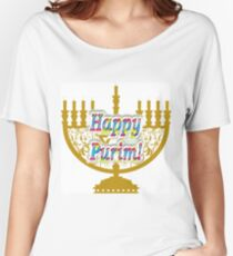 Purim, Jews, King Ahasuerus, Queen Vashti, Jewish girl, Esther, antisemitic Haman, Mordechai, feast Women's Relaxed Fit T-Shirt