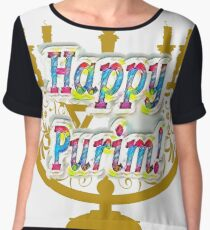 Purim, Jews, King Ahasuerus, Queen Vashti, Jewish girl, Esther, antisemitic Haman, Mordechai, feast Chiffon Top