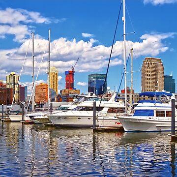 Liberty Landing Marina Against Jersey City Skyline by SudaP0408