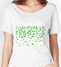 Clover leaf flat design green backdrop background pattern Women's Relaxed Fit T-Shirt