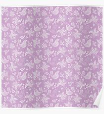 Lilac Flower Leaf Pattern Poster