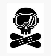 Snowboard skull goggles Photographic Print