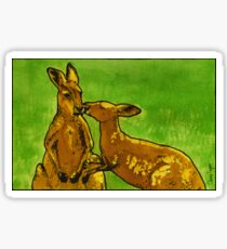 Kissing Kangaroos Print Sticker