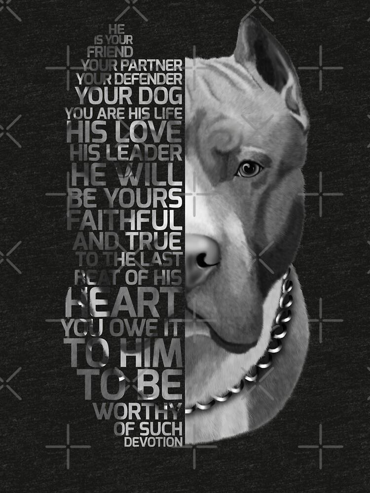 Cita del Pitbull, cita del perro, retrato del pitbull, retrato del texto del pitbull, pintura del pitbull, ilustración del pitbull de RomanDigitalArt