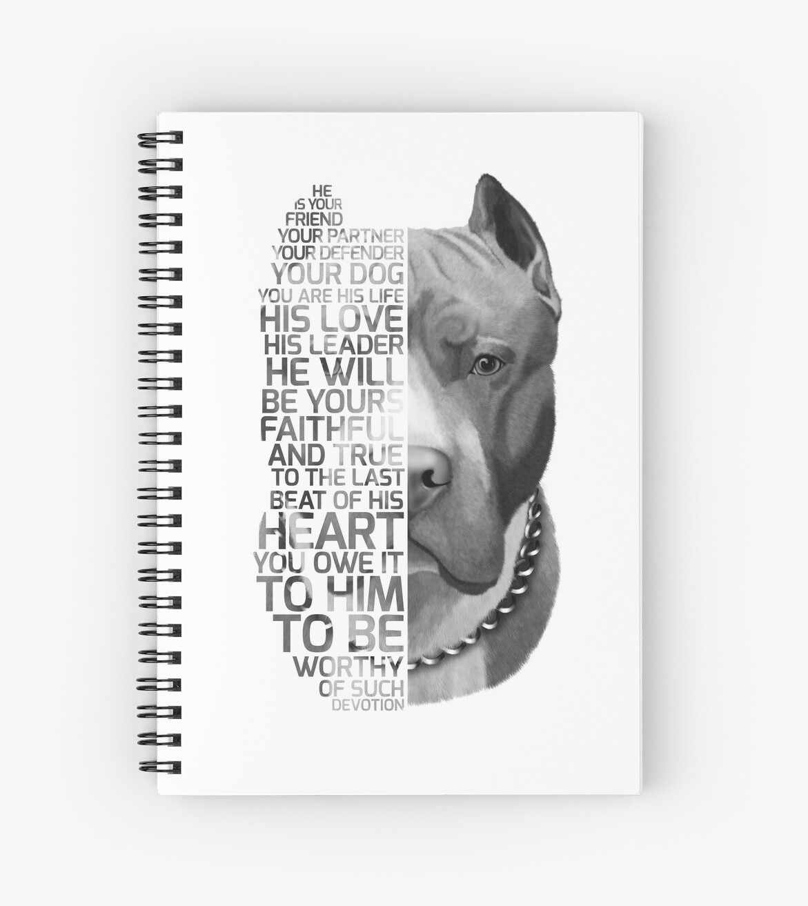 \'Pit bull Quote, dog quote, Pit Bull Portrait, Pit bull text portrait, Pit  bull Painting, Pit Bull illustration\' Spiral Notebook by RomanDigitalArt