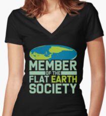 Camiseta entallada de cuello en V Flat Earth - Flat Earther - Flat Earth Society - Flat Earth Apparel - Flat Earth Clues - Miembro Flatentine - Flat Earth Girls - Flat Earther