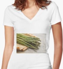 Fresh Asparagus Women's Fitted V-Neck T-Shirt