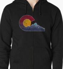 Colorado Flag Themed Mountain Scenery Zipped Hoodie