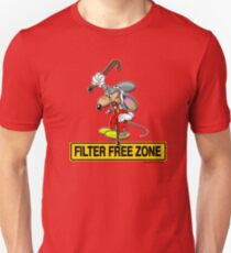 Filter Free Zone Signage featuring a cranky old mouse Unisex T-Shirt