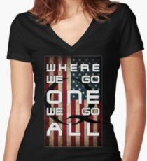 Q - QANON - WHERE WE GO ONE WE GO ALL (UPDATE read description) Women's Fitted V-Neck T-Shirt